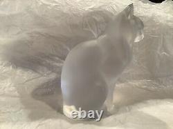 Fine Lalique France Chat Assis Chat Sitting Cat Figurine En Cristal Givré