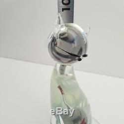Formia Vetri DI Murano 10 Verre Chat Figurine Avec Un Poisson Dans Belly Signé Par L'artiste