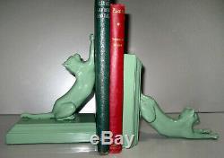 Frankart Chats Salsepareille Haut Et Bas Serre-livres D'art Déco USA Paire Greenie Moderne