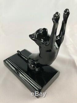 Frankart Salsepareille Cats Up + Bas Bookends Art Déco Paire Un Noir 1985 Moderne