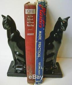 Frankart Serre-livres Chat Assis Art Déco Moderne Dans Une Finition Noire Une Paire USA 8