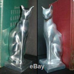 Frankart Serre-livres Chat Assis Art Déco Moderne En Aluminium Poli Une Paire Etats-unis