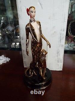 Franklin Mint House Of Erte'leopard' Lady & Cat Figurine Statue Sculpture Withbox