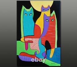 Gala Original Art Moderne Déco Chats- Peinture Figurative Toile Large Nouveau