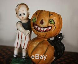 Ges Geschichte Allemand Halloween Bisque Jack O Lanterne Bonbons Container Rare Chat Noir