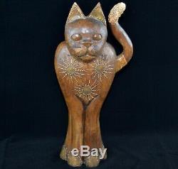 Grand Sculpture Statue Lourde Cat Art En Bois Et Laiton Nouveau Style Art Déco 19