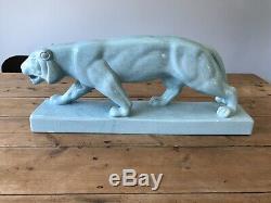 Grand Style Art Déco Puma Lion Tiger Big Cat Aqua Porcelaine Chine L & V Céramique