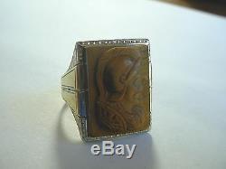 Grand Vintage Art Déco 14k 2 Tons Roman Eye Gold Cat Soldier Anneau Cameo Sz 10