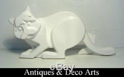 Grand Vintage Style Art Déco Céramique Figure D'un Chat (43cm)