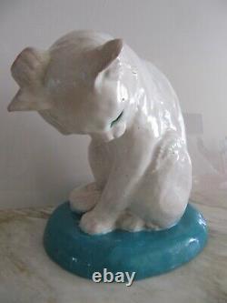 Grande Antique France Bavent Potterie Céramique Terracotta Chat Blanc