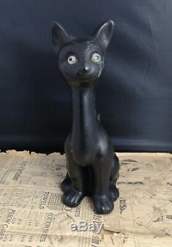Grande Figure De Chat Chalkware Vintage, Art Déco