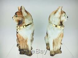 Grande Paire D'art Déco Écossais Bo'ness / Staffordshire Style Cat Figurines 1908