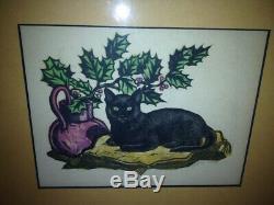 Gregory Orloff Art Déco Important Wpa Chicago Artiste Cat Couleur Woodblock Imprimer