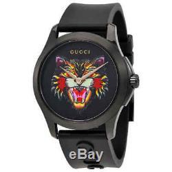 Gucci G-timeless Noir Avec Motifs Cat Dial Montre En Caoutchouc Ya1264021 Hommes