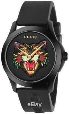 Gucci Ya1264021 G-timeless Noir Avec Motifs Cat Dial Caoutchouc 38mm Montre Homme