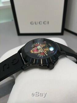 Gucci Ya1264021 Noir Avec Motifs Cat Dial Bracelet En Caoutchouc Noir 38mm Montre Homme