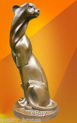 Guépard Art Déco, Statue En Bronze Signée Figure Chat Cubiste Sculpture Coulée À Chaud