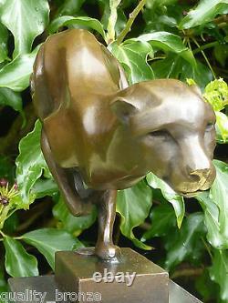 Guépard De Sprint, Sculpture Chaude De Fonte D'animal De Statue De Bronze Pur