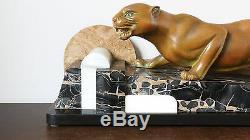 Guy Debe - Bronze / Marbre Panthère Rampante Art Déco Époque 1920-1930, France