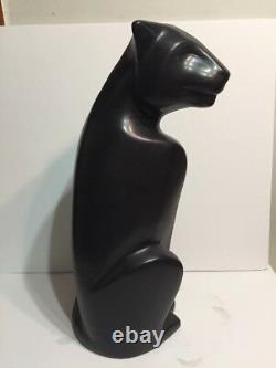 Haeger Ceramic Cats Panther Paire Déco Noir Blanc 20.5 Tall Jaguar Lion Leopard