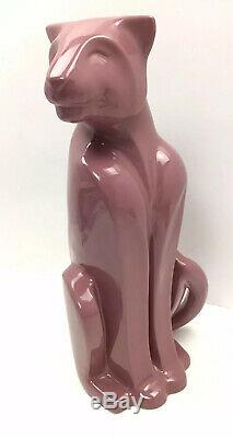Haeger Poterie Pink Panther 21 Grand Céramique Statue Lion Animaux Cat Sculpture