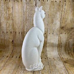 Haeger Royales Clin D'oeil Chat 616 Blanc Art Déco 15 Pouces Popcorn Fini Glass Eye