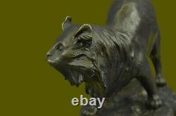 Handmade Vintage Bronze Home Art Déco Cat Statue Plinth Lost Wax Method Figure