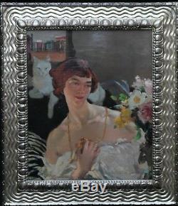 Helen Mackenzie Art Déco Écossaise Portrait Femme Chat Peinture À L'huile Art 1888-1966