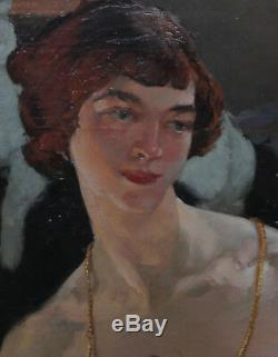 Helen Mackenzie Art Écossais Déco Portrait Femme Cat Peinture À L'huile Art 1888-1966