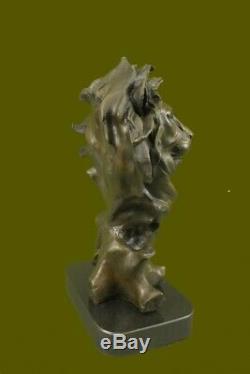 Homme Africain Lion Head Cat Sculpture En Bronze Buste Signée Art Déco Marbre Figurine
