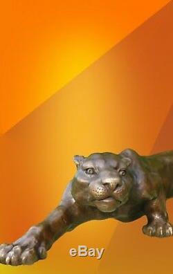 Hot Cast Statue En Bronze Panthère Animal Figure Sculpture Cougar Big Cat Figurine