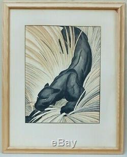 J T Schumauher Black Panther Art Déco Dessin Antique Art Signé Big Jungle Cat