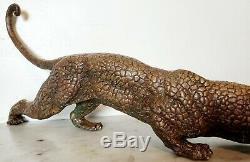 Jaguar Panther Leopard Cougar Big Cat Collector Oeuvre D'art Statue En Bronze Art Déco