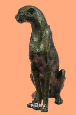 Jaguar Panther Leopard Cougar Big Cat Voiture De Collection Bronze Décor Statue Art Déco