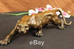 Jaguar Panthère Léopard Cougar Grand Chat Collectionneur Oeuvre Statue Bronze Art Déco