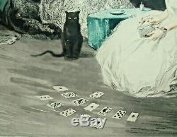 Jean Hardy (né En 1880) Eau-forte Avec Impression Aquatinte Art Deco Black Cat Solitaire