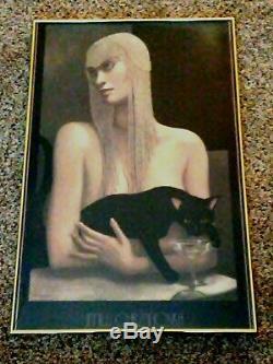 Jmw Chrzanoska Lithographies Art Déco Femme Avec Chat Noir Encadrée