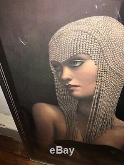 Jmw Chrzanoska Solitaire Lithograph Art Déco Femme Avec Le Chat Noir Encadrée
