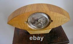 Kienzle Art Déco Bois Mantel Desk Horloge Antique Cat Eye Turquoise Face Wind Up