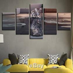Kitten Cat Tiger Réflexion De L'eau 5 Pièces Wall Art Image Home Decor