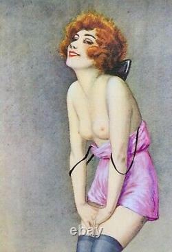 Kitty Cat Par Rebour 20x12 Canvas 20's Français Art Déco Flapper Pinup Stockings