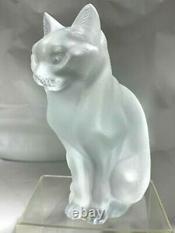 Lalique Français Art Déco Verre De Cristal Givré Deux Figurines Kitty Chats
