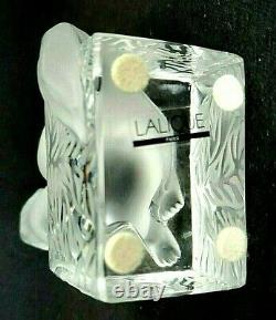 Lalique France Crystal Art Glass Cat On Pedestal Signed Looking Up 11675 Mint