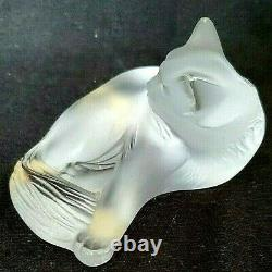 Lalique France Frosted Crystal Cat Cleaning Himself Paperweight Figurine