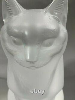 Lalique French Art Deco Verre Cristal Givré Deux Chatons Figurines