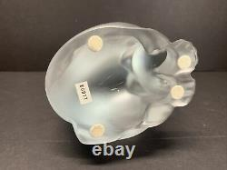 Lalique Frosted Art Glass Chat Assis Assis Chat Cristal Lourd Figure 7 Lbs