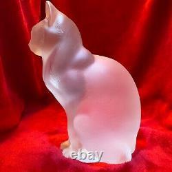Lalique Grand Chat Asis Cat Sculpture En Verre Clair Et Givré, Pièce Lourde