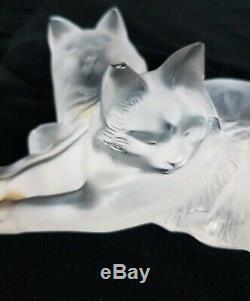 Lalique Heureux Et Heggie Chat Clair Givré Verre Cristal Figurine 6.5