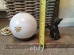 Lampe Art Déco Français Lune Vintage De Globe De Verre De Chat Sur La Lampe De Base De Marbre