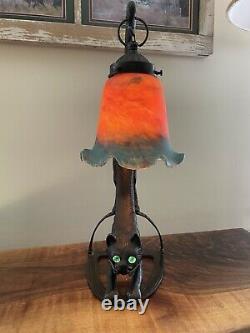 Lampe De Chat En Bronze Vintage Art Déco